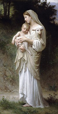"""Bouguereau's L'Innocence (""""Innocence""""). Both the child and the lamb represent fragility and peacefulness, as seen in religious art. The image of a mother and child together connotes such positive interpretation that it is codified into the Chinese character 好 hǎo, meaning """" good."""""""