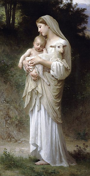 Innocence - Bouguereau's L'Innocence:  Women, young children and lambs are all symbols of innocence.