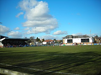 Glasgow Hutchesons Aloysians RFC - A view of the stand and club house at Braidholm, GHA's home field