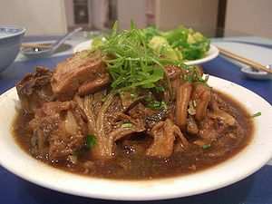Braising - Braised pork spare ribs with preserved mustard greens