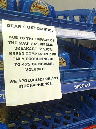 2011 in New Zealand - A sign at a Countdown supermarket noting the limited bread supply due to the Maui gas line leak