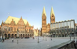 Bremen town hall, St. Peter's Cathedral, and parliament