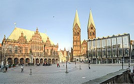 Bremen town hall, St. Peter's Cathedral and parliament