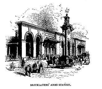 Bricklayers' Arms - Cubitt's facade at Bricklayers' Arms Station c.1845