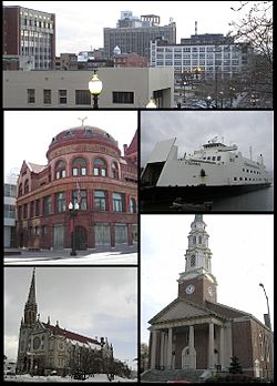 Clockwise from top: Downtown, the Bridgeport & Port Jefferson Ferry, the United Congregational Church, St Patrick's Church, and the PT Barnum Museum