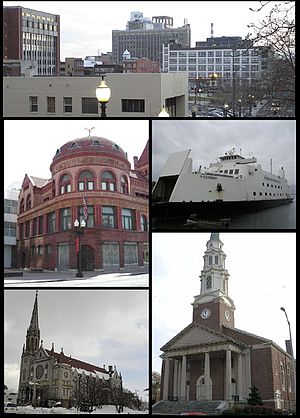 Bridgeport, Connecticut - Clockwise from top: Downtown Bridgeport, the Bridgeport & Port Jefferson Ferry, the United Congregational Church, St. Patrick's Church, and the P.T. Barnum Museum