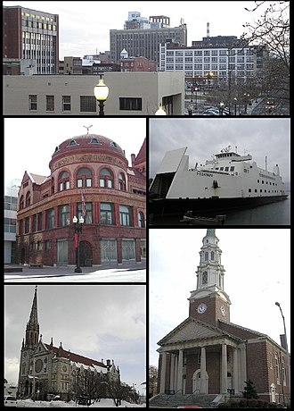 Bridgeport, Connecticut - Clockwise from top: Downtown, the Bridgeport & Port Jefferson Ferry, the United Congregational Church, St Patrick's Church, and the PT Barnum Museum