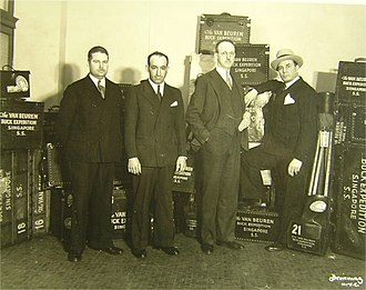 Carl Berger - Left to right: Cameramen Nicholas Cavaliere, Berger, director Clyde E. Elliott, and star Frank Buck ready to leave for the far east to film Bring 'Em Back Alive (1932)