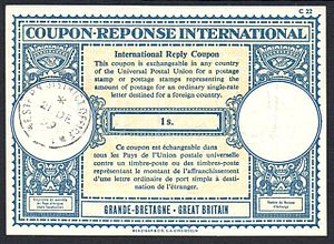 International reply coupon - A British 1 Shilling IRC issued in 1959.