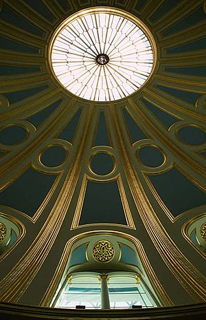 British Museum Reading Room - Detail of the ceiling with its oculus