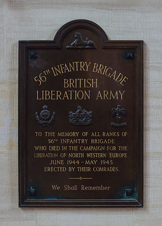 56th Infantry Brigade (United Kingdom) - Plaque to the 56th Brigade, with the insignia of the 3 regiments in 1944. Cathedral of Bayeux, Calvados, France.