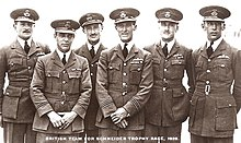 Six uniformed military officers stand in line, the image has a caption, 'British Team for Schneider Trophy Race, 1929.