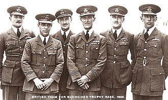 High Speed Flight RAF - British team for the 1929 Schneider Trophy race. From left to right; Waghorn, Moon, Grieg, Orlebar, Stainforth and Atcherley