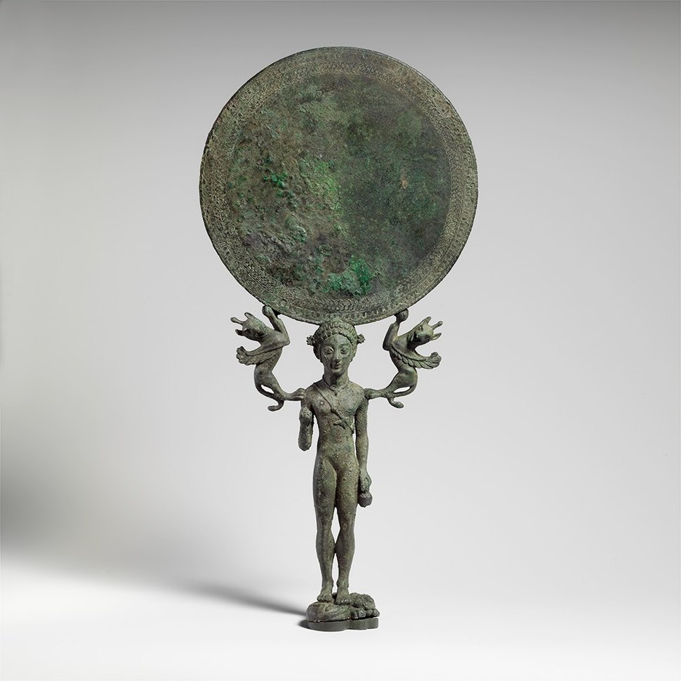 Bronze mirror with a support in the form of a nude girl MET DP138711