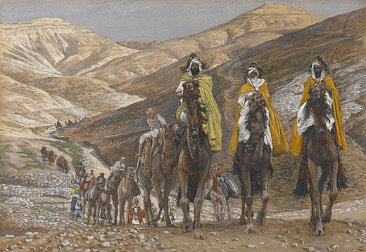 James Tissot: The Magi Journeying (c. 1890), Brooklyn Museum, New York City Brooklyn Museum - The Magi Journeying (Les rois mages en voyage) - James Tissot - overall.jpg