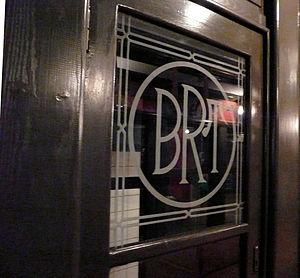 Brooklyn Rapid Transit Company - Brooklyn Rapid Transit logo on a  1907 Brooklyn Union Elevated car.