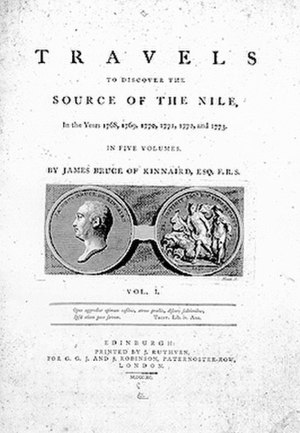 Travels to Discover the Source of the Nile - Title page Travels to Discover the Source of the Nile by James Bruce, 1790