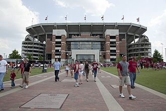 Bryant–Denny Stadium - View of the north end zone of the stadium exterior and the Walk of Champions