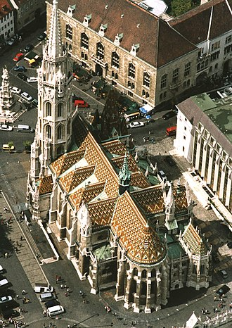 Matthias Church - The Coronation Church of Our Lady and - top left - Square of Holy Trinity (Szentháromság tér) with the Holy Trinity Column built in 1713.