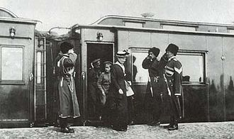 Stavka - Alexandra Fyodorovna, Tsarevitch Alexei and Nicholas II arriving at the Stavka