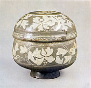 Buncheong Lidded Bowl with Inlaid Peony Design.jpg
