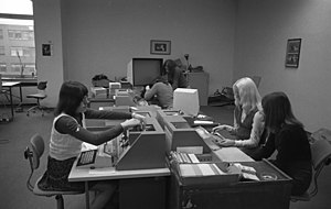 Data entry clerk - Keypunch operators at Volkswagen in 1973