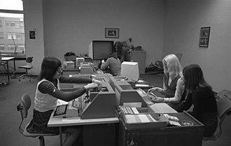Data entry clerk - Keypunch operators at Volkswagen in 1973