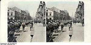 Battle of Łódź (1914) - German soldiers enter Łódź on 6 December 1914