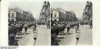 Battle of Łódź (1914) - German soldiers enter Łódź on 6 December 1914