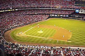 Lapangan bisbol di Busch Stadium, Saint Louis, Missouri.