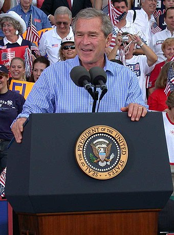 George W. Bush speaks at a campaign rally in 2004 Bush 43 10-19-04 Stpete.jpg