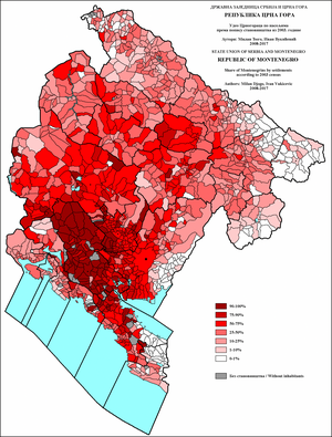 Demographics of Montenegro - Share of Montenegrins in Montenegro by settlements 2003.