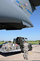 California Air National Guard Senior Master Sgt. Art Cano, foreground, and Tech. Sgt. Miguel Hernandez, rear, unload a Mississippi Air National Guard C-17 Globemaster III aircraft at Mirgorod Air Base, Ukraine 110716-F-VM440-319.jpg