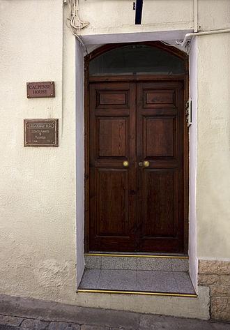 El Calpense - Entrance to Calpense House in College Lane, Gibraltar, where El Calpense was printed.