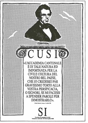Università della Svizzera italiana - Campaign poster in support of the Cantonal referendum on CUSI (April 18-19-20, 1986) quoting the words of Federal Councillor Stefano Franscini, who a century earlier (October 15, 1844) wrote about the importance of a higher education institution in the Canton Ticino.