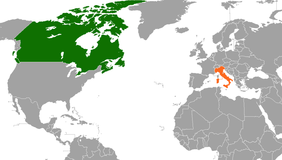 Map indicating locations of Canada and Italy
