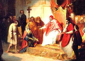 Pintura del XVII en la que se representa al emperador Enrique IV pidiendo el perdón al Papa Gregorio VII. Crédito: wikipedia.org