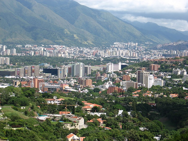 Panoramic view of downtown Bogotá, ColombiA view of Caracas from Valle Arriba.