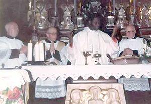 Bernardin Gantin - Cardinal Gantin during a mass in San Fiorano (Lodi), Italy, in 1984
