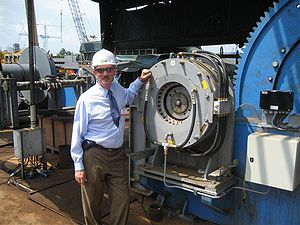Altra Industrial Motion - Altra CEO Carl Christenson together with a Wichita Clutch KopperKool brake on an anchor winch in Singapore.