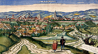 "Košice - ""Cassovia: Superioris Hungariae Civitas Primaria"", the prospect from Civitates orbis terrarum. Cassovia (Slovak: Košice, German: Kaschau, Hungarian: Kassa), the ""capital"" of Upper Hungary in 1617."