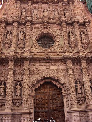 New Spanish Baroque - The main façade of the Zacatecas Cathedral, considered a masterpiece of Churrigueresque
