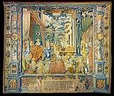 Cathedrale St Etienne Toulouse - Tenture murale- La naissance de saint Etienne - Jean Pechault 1532 .jpg