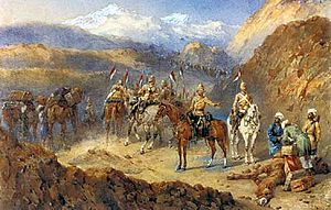 Battle of Kandahar - 9th Lancers on the march to Kandahar, water-colour by Orlando Norie. The troops would march in the early morning to avoid the full heat of the sun, halting a few minutes every hour. In this way, the column managed to cover up to 20 miles a day.