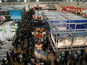 A crowded exhibition hall during CeBIT 2000.