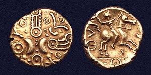 Catuvellauni - Image: Celtic gold stater Catuvellauni Tasciovanus