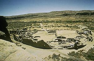 Oasisamerica - Archaeological site at Chaco Canyon, one of the principal sites of Ancestral Pueblo culture