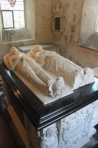 Edward Hungerford (Roundhead) - Monument to Sir Edward Hungerford (1596–1648) and his wife, St Leonard's Chapel, Farleigh Hungerford Castle. At his feet are shown the heraldic badges of Hungerford sickles and Peverell garb