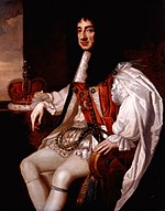 Painting of seated male figure, with long black hair wearing a white cape and britches.