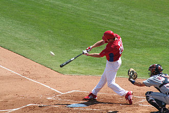 Chase Utley - Utley hits a home run on March 11, 2007 against the Detroit Tigers during spring training.